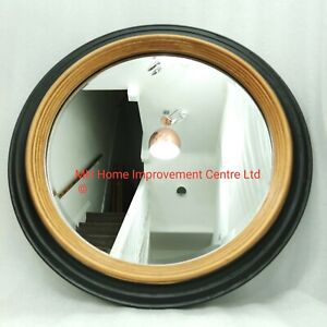 Antique Style Black Gold Round Rustic Mirror Traditional Look Shabby Chic 60cm