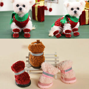 Thick Fur Pet Shoes Winter Red Anti-slip Warm Dog Snow Boots For Teddy Chihuahua
