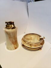 Vintage Onyx and Gold Tone Lighter and Ashtray Set Good Condition