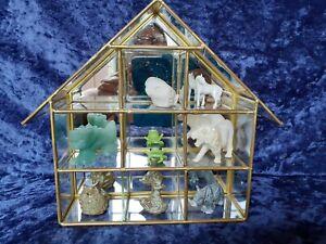 Vintage Mirrored Glass Curio Cabinet, Brass House Shape 20cm x 23cm