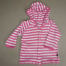Bonds Girls Size 0, Pink and White Striped Hoodie, Cardigan with front pockets