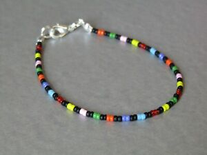 Rainbow & Black Seed Bead Slim Freindship Stacker Bracelet or Anklet - Summer!