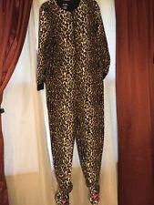 Nick & Nora Leopard Pajamas One Piece Bodysuit PJs Face Footies w Whiskers S L