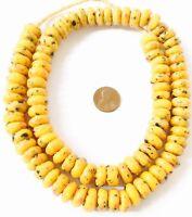 Fine Handmade Ghana Mustard Yellow multi Recycled glass African trade beads