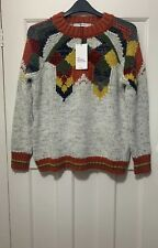 ZARA MULTICOLOURED OVERSIZED METALLIC THREAD JACQUARD SWEATER SIZE M BNWT