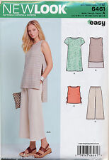 NEW LOOK SEWING PATTERN 6461 MISSES SZ 6-18 EASY DRESS, TUNIC, TOP CROPPED PANTS
