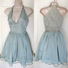 BEBE AQUA LACE BACK METALLIC STRIPE DRESS NEW NWT $149 XXSMALL XXS 0
