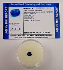 Natural Blue Sapphire Oval 0.91 Cts Certified Appraisal $1050 AGI BS13