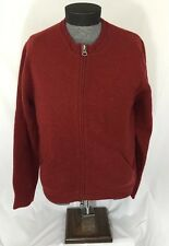 Vintage Lucky Brand Woolens Mens Red Zip Up Lining Cardigan Sweater Size L