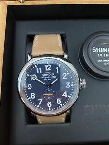 Shinola Runwell Watch 47mm Case - Argonite 1069 - Midnight Blue Dial