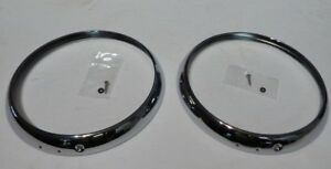 New Pair of Headlamp Headlight Trim Rings MG MIdget Austin Healey Sprite 1962-74