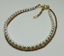 Double Strand Gold Tones Pearls Anklet Ankle Bracelet Hippy Wedding Anklet