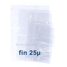 Sachets plastiques transparents SANS fermeture - épaisseur fine 25µ