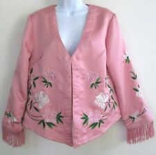 SOFT SURROUNDINGS Jacket SZ S  Pink Silk Embroidered Floral Fringe Sleeve