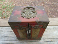 "Antique Chinese Jewelry Box Wood Brass inlaid Jade Qing Dynasty 7"" x 5.5"" x 4"""