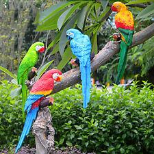 Resin Animal Sculpture Modern Garden Zoo Ornament Decorations Green Parrot