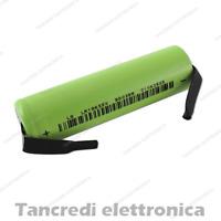 Batteria litio 18650 3.7V ICR18650 2600 mAh con linguette a saldare lamelle tabs
