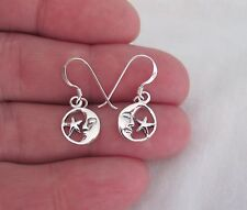 star small dangle earrings Sterling Silver moon and