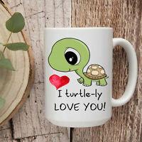 I Love You Turtle Coffee Mug Animal Cup Gift For Her Him Boyfriend Wife Mom M...