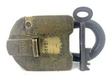 KRISHNA TRADING CO PADLOCK No 1928 + KEY Brass 16 Levers ALIGARH India Vintage