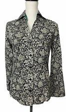 Ben Sherman Ladies Floral Print White/ Black / Grey Shirt Size Small 100% Cotton