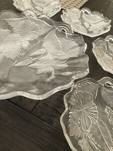 Mikasa  Beautiful Decorative Crystal/Glass Plate Set ~ Gorgeous Leaf Theme