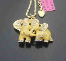 A571Y     Betsey Johnson Crystal Enamel Elephant Pendant Sweater Chain Necklace