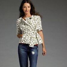 J Crew S 4 Green Ivory Python Print Belt Jacket Top Short Sleeve Cotton $168