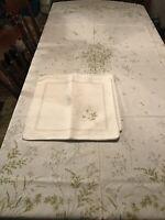 Vintage Linen Tablecloth Oblong 90x68 And 12 Napkins Elegant And unique