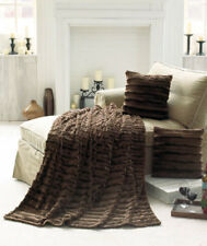 NEW Sensuous Arctic Faux Fur Throw Blanket & 2 Pillow Set Sable Brown Home Decor