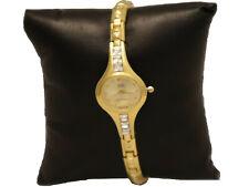 Q&Q by Citizen Women Quartz Gold Plated Metal Watch with Diamonds Water Resist
