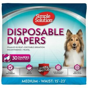Simple Solution True Fit Disposable Dog Diaper with Tail-Hole, Medium, 30 Count