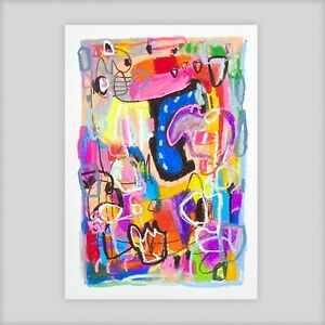 Modernist ABSTRACT Expressionist ORIGINAL PAINTING Modern Colourful ART. SIGNED