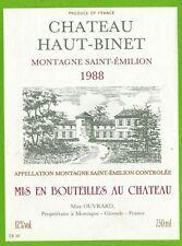 Etiquette de Vin-Montagne Saint.Emilion-Château Haut Binet-M.Ouvrard-Réf.466