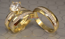 His And Hers  14k Gold Engagement Rings And Multiple Wedding Band Set