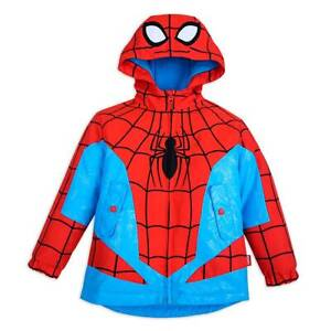 New Disney Store Spiderman Raincoat Jacket Boys Red