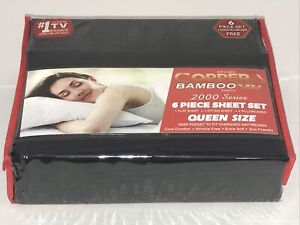 Infused Copper X Bamboo 2000 Series 6pc Queen Size Series Sheet Set Black