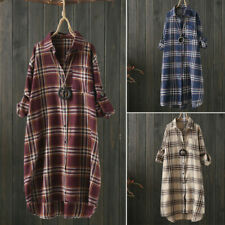 ZANZEA 8-24 Women Plaid Check Button Down Shirt Top Tee Blouse Tunic Short Dress