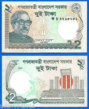 Bangladesh 2 Taka 2011 UNC Free Shipping Worldwide