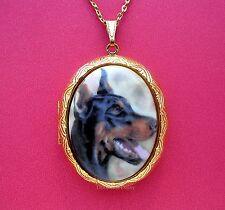 Porcelain Doberman Pinscher Dog Cameo Gt Locket Pendant Necklace Birthday Gift