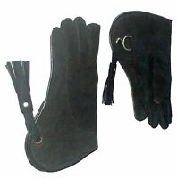"Falconry Glove Suede Leather Double Layer 12"" Long (Standard Size, Coal Black)"