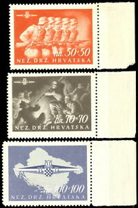 CROATIA (NDH) WWII – FIRST CROATIAN STORM DIVISION, MNH, RARE SERIES, ERROR OF P