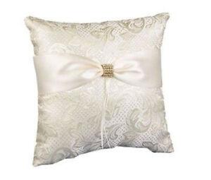 NEW HBH Ivory Satin Damask Ring Bearer Pillow