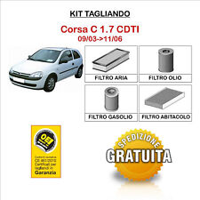 KIT TAGLIANDO 4 FILTRI TECNECO OPEL Corsa C 1.7 CDTI 09/03->11/06