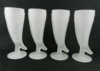 Set of 4 Indiana Glass Tiara White Frosted Mugs Pilsner Glass Powder Horn