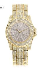 Watch Fully Iced Out MENS Gold Shiny Bling Bling Ice Diamond Shine Time Piece