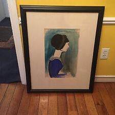 """Joseph Stella Blue Woman Pencil and Watercolor Estate Stamp RARE HTF 30X25"""" WOW!"""