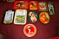 Vintage Lot Coca Cola Trays Assorted Sizes Shapes Designs 9 Coke Trays