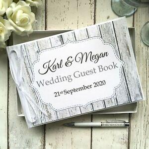 PERSONALISED WEDDING GUEST BOOK ~ RUSTIC / VINTAGE WOOD/WOODEN  ~ SIGN/ PEN