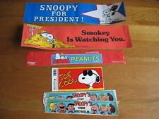 SNOOPY / PEANUTS 4 BUMPER STICKERS AND OTHERS